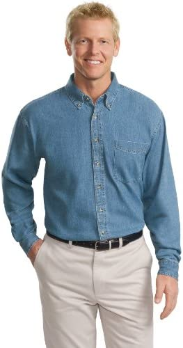 Port Authority Tall Long Sleeve Denim Shirt XLT Faded Denim product image