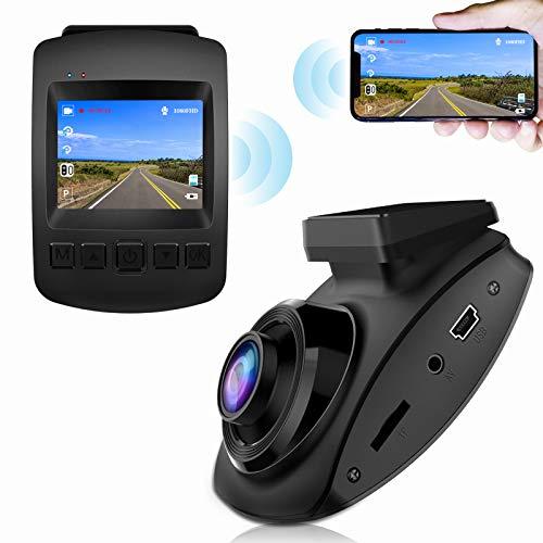 CHORTAU 【2021 Nuova Versione】 Telecamera per Auto WiFi Full HD 1080P, Dashcam Schermo da 2 Pollici 170 ° Grandangolo, Videocamera per Auto con Monitor di Parcheggio