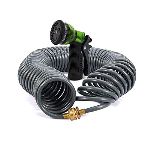 YESTAR Coil Garden Hose,75 Feet Garden Hose Retractable with Spray Nozzle,Corrosion Resistant 3/4 Inch Solid Brass Connectors ,Heavy-Duty EVA Recoil Garden Hose for Lawn,yard