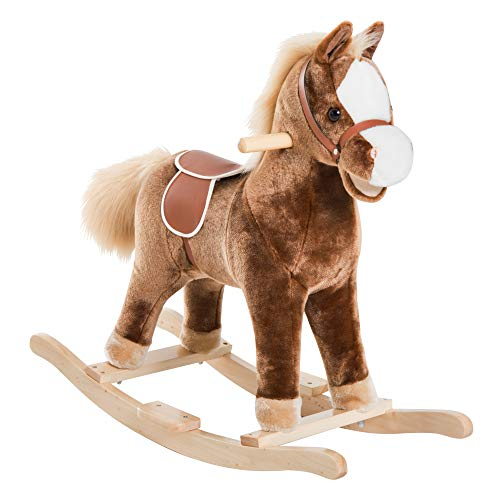 HOMCOM Kids Children Plush Rocking Horse Wooden Base Ride On Toy Rocker with Handle Grip Traditional Toy Fun Gift for Age 3+ (Brown)