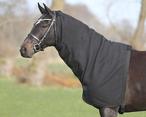 QHP Halsteil Fleece mit Klettverschlüssen + Gurt mit Schnappverschluss schwarz (L)