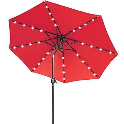 ABCCANOPY 9FT Patio Umbrella Ourdoor Solar Umbrella LED Umbrellas with 32LED Lights, Tilt and Crank Table Umbrellas for Garden, Deck, Backyard and Pool,12+Colors, (Red)