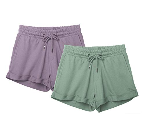 icyzone Damen Sweatshorts 2er Pack Kurze Sporthose Gym Fitness Shorts (XL, Cameo Green/Lilac)