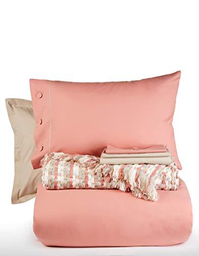 Karaca Home Mia Soft Cinnamon Single Duvet Cover Jacquard Blanket Set-Duvet Cover Quality: 100% Cotton Blanket Quality: 100% Acrylic