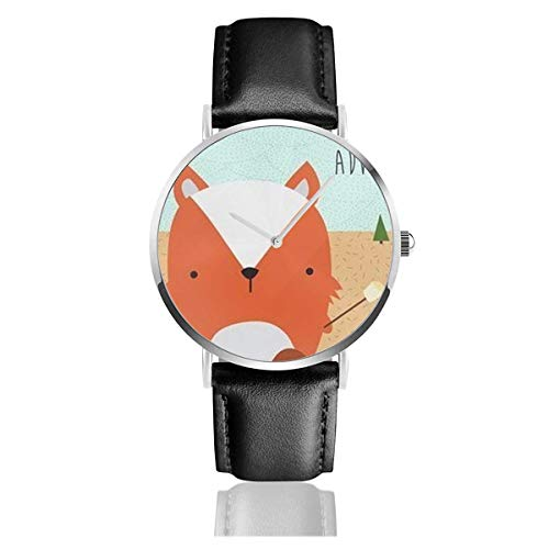 Dibujos Animados Lindo Animal Fox Barbacoa Reloj Casual Correa de Cuero Relojes