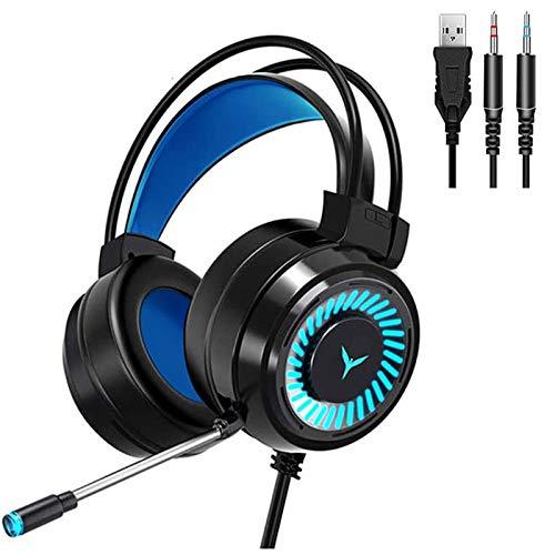 GUANGE Fone de ouvido estéreo 4D para jogos, fones de ouvido para jogos com microfone, fones de ouvido para PC com luz LED colorida e microfone com cancelamento de ruído, fones de ouvido para PC/laptop, preto