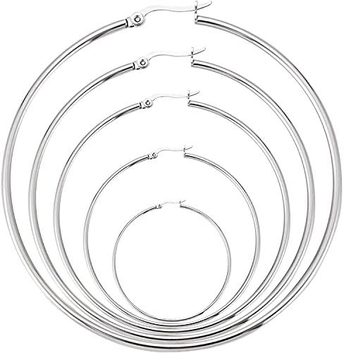 Aros Plata de Ley 925, Pendiente de aro fino con Cierre de Oculto y Bisagra – Diámetro: 20,30,40,50,60 mm. Plata Autentificada en Laboratorio de Metales Preciosos (20 mm bisagra)