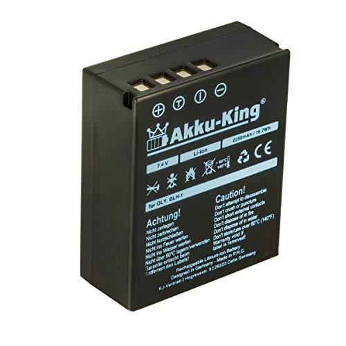 Akku-King Akku kompatibel mit Olympus BLH1, BLH-1 - Li-Ion 2250mAh - VOLLDEKODIERT mit Restlaufanzeige - für Olympus OM-D, EM-1 Mark 2, EM-1 Mark II, E-M1X