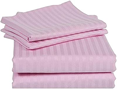 """Jaipur Linen Premium 100% Cotton 300 TC King Size Fitted Bedsheet 72""""x78"""" with 2 Pillow Covers (Pink)"""
