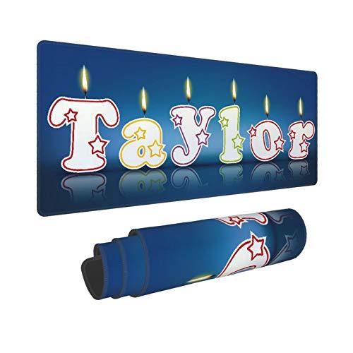 Extra Groß Mauspad mit Genähten Kanten,L-80 x 30 x 0.3cm,Taylor geschrieben mit brennenden Kerzen,Schreibtisch Mat Personalisiert für Die Arbeit Spiel Büro Computer Laptop