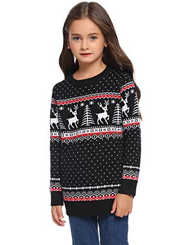 Aibrou Suéter de Navidad para Familia,Jersey Pullover de Punto de Copos de...