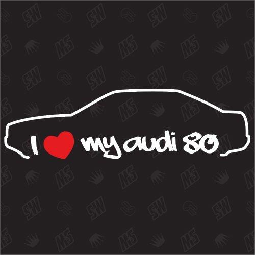 speedwerk-motorwear I Love My 80 Limo - Sticker, B4, B5, kompatibel mit Audi 80