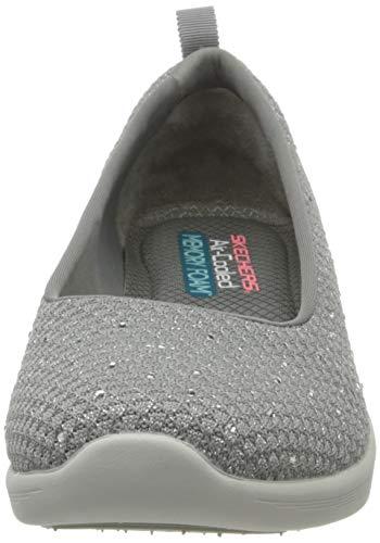 Skechers Arya Sweet Glitz, Zapatillas sin cordones Mujer, Gris (Gray Metallic Knit/Light Gray & Silver Trim Gry), 37 EU