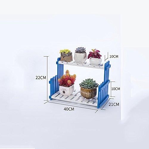XIAOLIN- Salon Balcon Plancher Multi-étage Fleur Rack Racks en bois massif Étagères intérieures simples (couleur, taille en option) --Cadre de finition de fleurs ( Couleur : Bleu , taille : 40 cm )