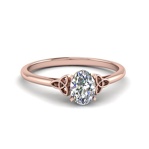 3/4 Ct Oval Shaped GIA Certified Diamond Celtic Knot Simple Solitaire Engagement Ring in 14K Rose Gold I1 Clarity and F Color 0.71 Ctw Ring Size 7.5