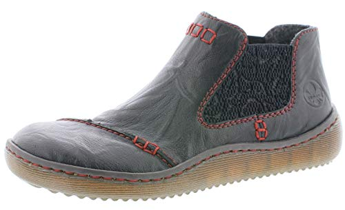 Rieker Damen Stiefeletten L8491, Frauen Chelsea Boots, halbstiefel Schlupfstiefel gefüttert Winterstiefeletten,schwarz,39 EU / 6 UK