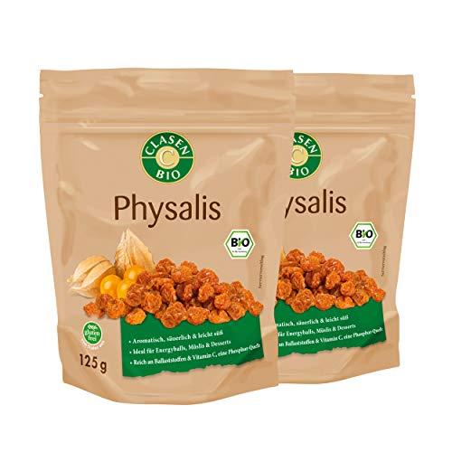 2x CLASEN BIO Physalis, getrocknet, von Natur aus vegan und glutenfrei - 125 g