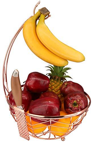 Roselife cesta de frutas, tazón de almacenamiento de frutas, suspensión de plátano y suspensión de uva, soporte de plátano. Acabado cromado (oro rosa).
