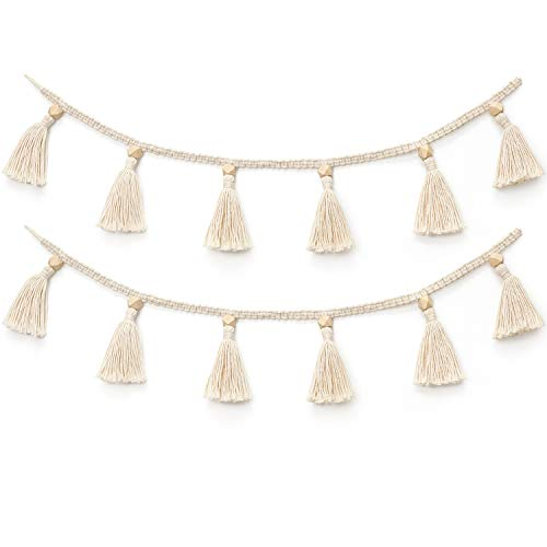Dahey Macrame Cotton Tassel Garland Tassels Banner with Beads Belly Basket Decorative Wall Hanging Cover for Boho Home Decor, Nursey Room Christmas Decoration, 2 Pack