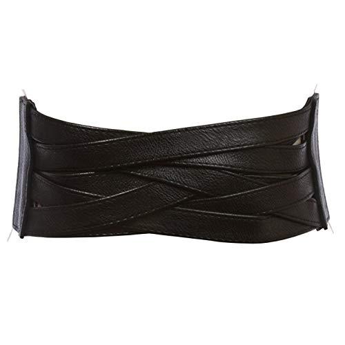 4' Women's High Waist Non Leather Fashion Wide Braided Stretch Belt, Black   m/l: 33'-36'