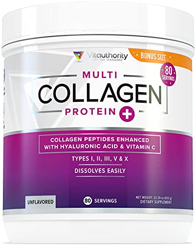 Multi Collagen Peptides Plus Hyaluronic Acid and Vitamin C, Hydrolyzed Collagen Protein, Types I, II, III, V and X Collagen, Unflavored, 80 Serving