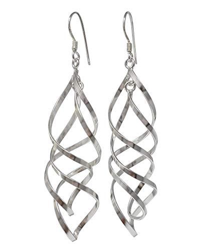 TreasureBay Classic 925 zilveren oorbellen voor vrouwen Interlocking Spiral Drop oorbellen, Womens Pierced oorbellen