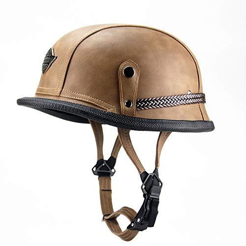 Skingo Cromwell-Helm, offener Halbhelm, aus Leder, DOT/ECE zertifiziert, Cruiser Chopper Skateboard Fahrrad Kollision Helm Unisex XL=(61~62CM) B