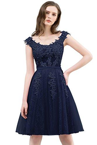 MisShow Damen Prinzessin A-Linie Tüll Abendkleid Kurz Spitzenkleid Apllikation kurz V-Ausschnitt Navy Blau 40