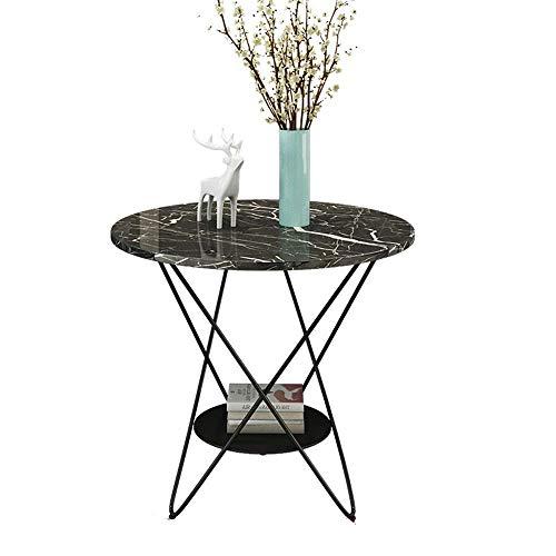 Muebles para el hogar, mesa auxiliar de mármol, mini mesa redonda pequeña, mesa de centro informal de hierro forjado negro, mesita de noche de 2 niveles para sala de estar, dormitorio, balcón (Color