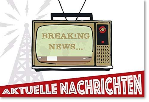 Geburtstagskarte mit Musik u. Licht- Din B6, Fernseher, Breaking News