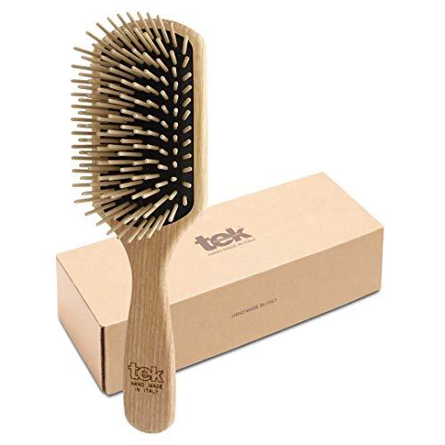 Tek cepillo para el pelo rectangular grande de madera de fresno con púa larga - Hecho a mano en Italia