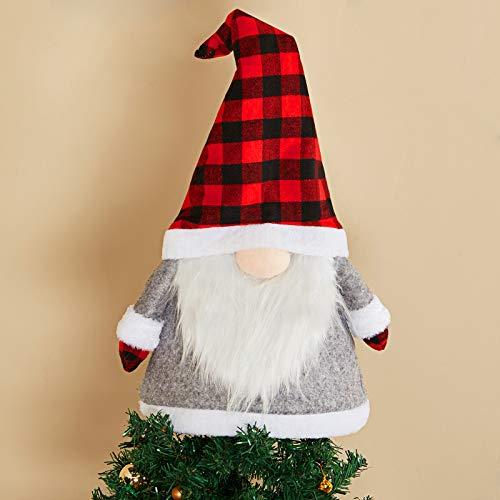 Weihnachtsbaum Topper Gnom Große Schwedische Tomte Gnom 25 Zoll Weihnachtsschmuck Gnom für Weihnachtsbaum Dekoration Haus Party Lieferungen (Rot und Schwarz Plaid)