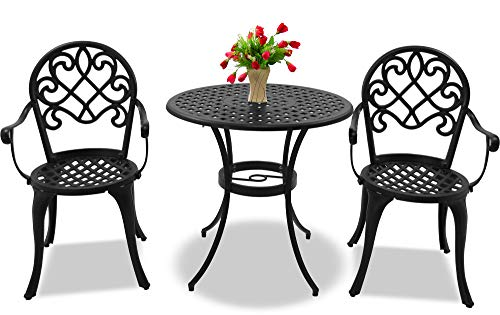 Centurion Supports PREGO Garden & Patio Table & 2 Large Chairs with Armrests Cast Aluminium Bistro Set - Black