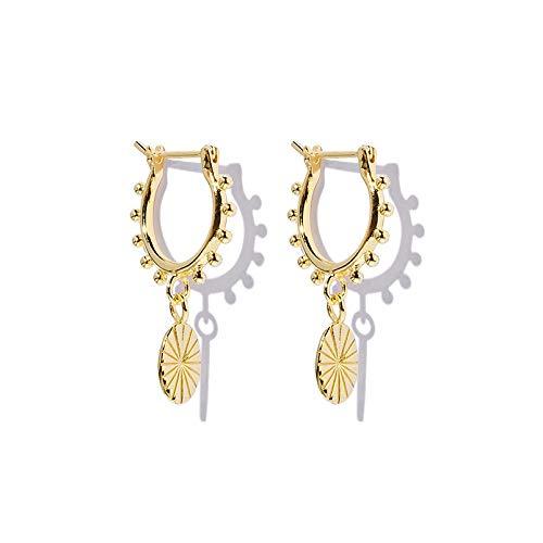 Brandlinger ® Atelier Ohrringe mit Coin Anhänger aus vergoldetem 925 Sterling Silber für Frauen und Mädchen. Durchmesser der Creole 10 mm (Gold)