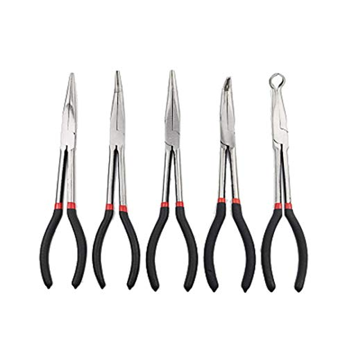 Long Needle Nose Pliers Set, 5pc 11' Bent Nose Plug Cable Puller Reach Flat, Straight, 45, 90, Hose/Cable and Flate Nose (Black)