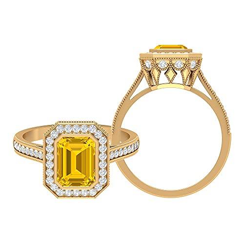 Rosec Jewels 14 quilates oro amarillo Octagone Round Brilliant Yellow zafiro sintético amarillo Moissanite