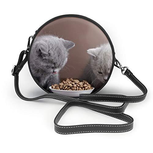 Little Gray Katzenfutter, runde Umhängetasche aus echtem Leder, Vintage-Stil, verstellbarer Schulterriemen für Damen