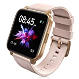 RTAKO Smart Watch Compatible with iPhone Android Phones , Fitness Tracker Watch with Heart Rate Monitor Blood Oxygen Meter, IP68 Swimming Waterproof Smartwatch for Women Men Pink