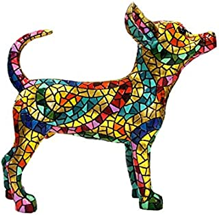 "Stor staty av Chihuahua hund ""Barcino"", modell ""Carnival"" i mosaik. Höjd 33 centimeter"