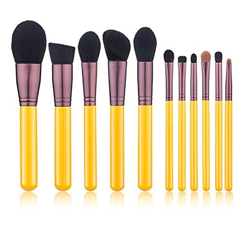 11 Pcs Pinceau De Maquillage Set Les Pinceaux De Maquillage Jaune Outils De Beauté De Maquillage Professionnel Pelage Super Doux Jeu De Pinceau De Maquillage,Jaune
