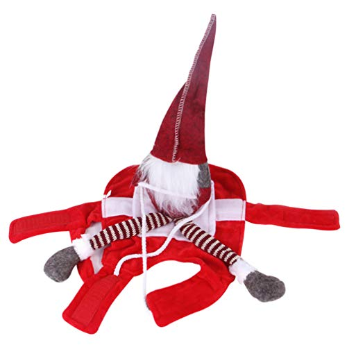 Balacoo Navidad Perro Disfraz de Santa Claus Mascota Divertida Jinete Vaquero Caballo Gatos Atuendo Ropa Ropa Fiesta Vestir Ropa L