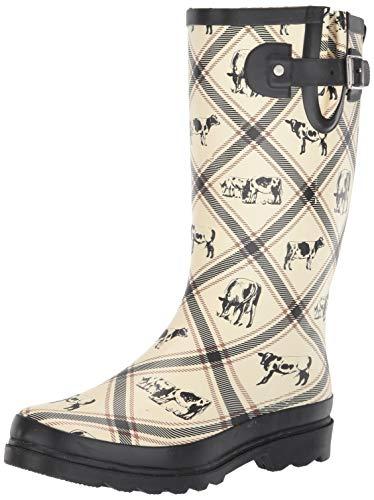 Western Chief Women's Printed Tall Rain Boot, Cream, 9 M US