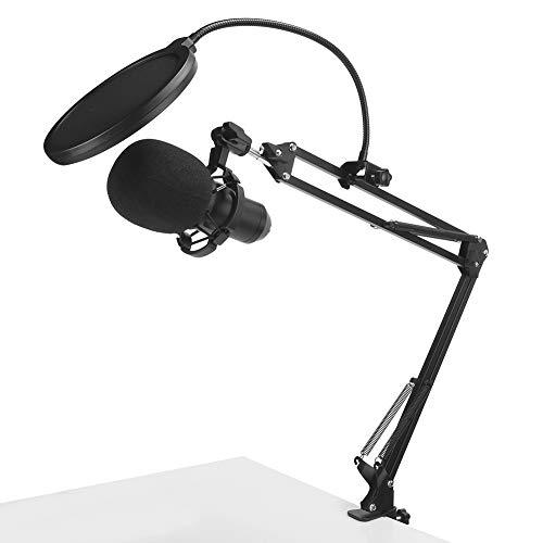 Micrófono ajustable, micrófono de grabación, micrófono con soporte de brazo para transmisión en vivo con soporte de choque, para tiendas, hogares, escenarios, estudios, estaciones de radio y televisió