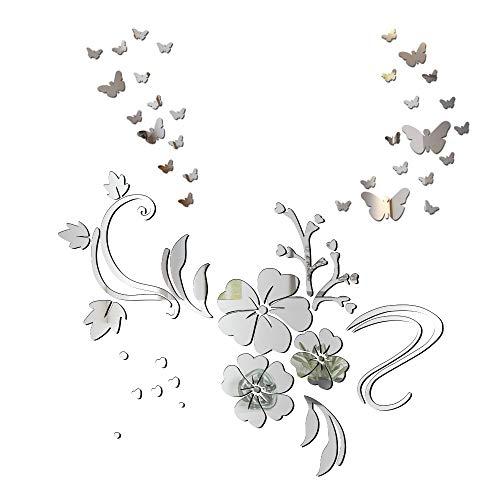 Pegatinas Decorativas Pared Espejo Vinilos Flores y 30pcs Mariposas Adhesivos Decoración DIY Hogar Habitación Dormitorio Baño