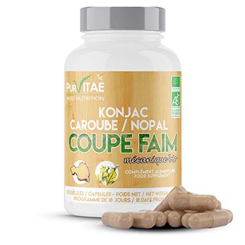 COUPE FAIM Bio Konjac Caroube Nopal | Action Mécanique | Diminue la faim Accélère la satiété | Aide à la Perte de Poids