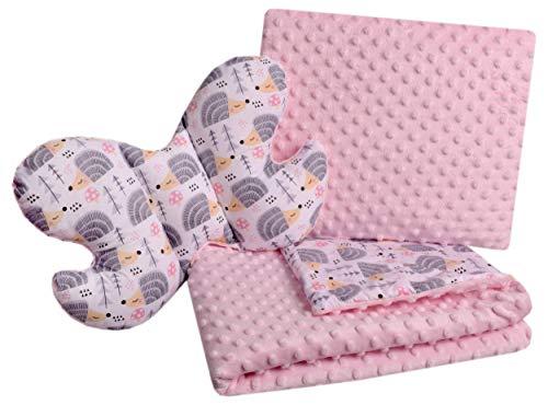 Babydecke Krabbeldecke Set 3in1 100% Baumwolle MINKY Kinderdecke 55x75 + 35x30cm flaches Kissen und Anti-Schock-Kissen Schmetterling Medi Partners (graue Igel mit hellrosa Minky)