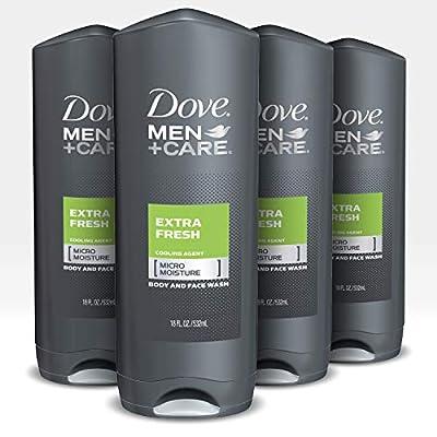 Dove Men+Care Body Wash For Men's Skin Care Extra Fresh Dermatologist Recommended Shower Gel and Bodywash, 18 Fl Oz, Pack of 4