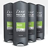 Dove Men+Care Body Wash for Men's Skin Care Extra Fresh Effectively Washes Away Bacteria While Nourishing Your Skin (18 oz - 532ml/Per count) 4 Count