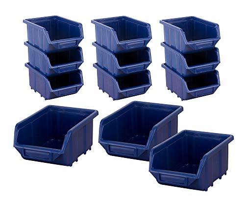BigDean Stapelboxen Set 12 Stück Blau mittel 155x240x125mm - Kunststoff Sichtlagerkasten stapelbar - perfekt für Ordnung in Werkstatt & Garage