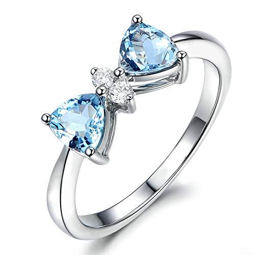 AmDxD Anillos Mujer Compromiso, Anillos Plata S925 Circonita 4X4MM Triangular Azul Topacio con Circonita Blanco | Plata| Tamaño 22| Regalos para Mama (Circunferencia 62 mm)